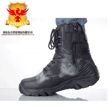 Classic black 8 inch leather water resistant military combat boots for exceptional tactical