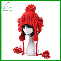 tassels handmade pom poms winter cap with earflap knitted cap with golves