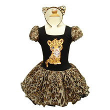 New Fashion Lastest Design 2016 Leopard Grain Style Animal Appliques Hair Accessories Sexy Girl Dance Dress Halloween D2338