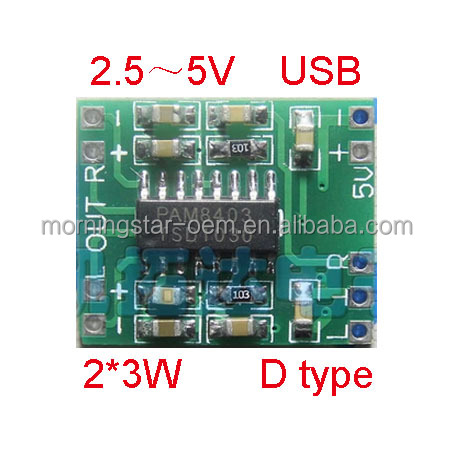 DC 5V 5.1V Amplifier PCB Board Class D 2*3W USB Power Mini PAM8403 Audio amplifier Module
