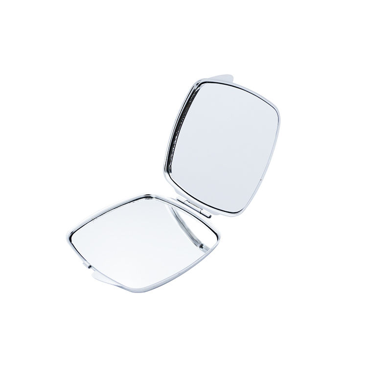 China lady travel portable square shaped double side metal cosmetic make up mirror