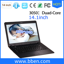 Ultra Thin Laptop 14.1 inch Intel 2.0GHz computer 2/4GB RAM 32G SSD Wifi Webcam quad core netbook