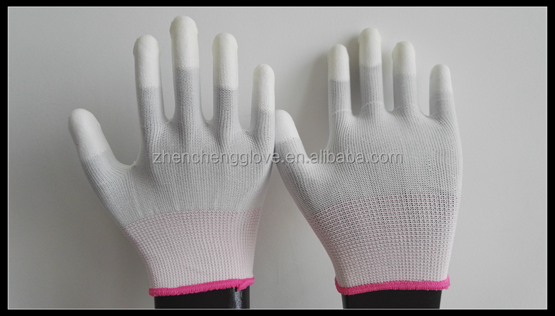 PU finger coated top fit esd gloves, anti static electronic safety gloves