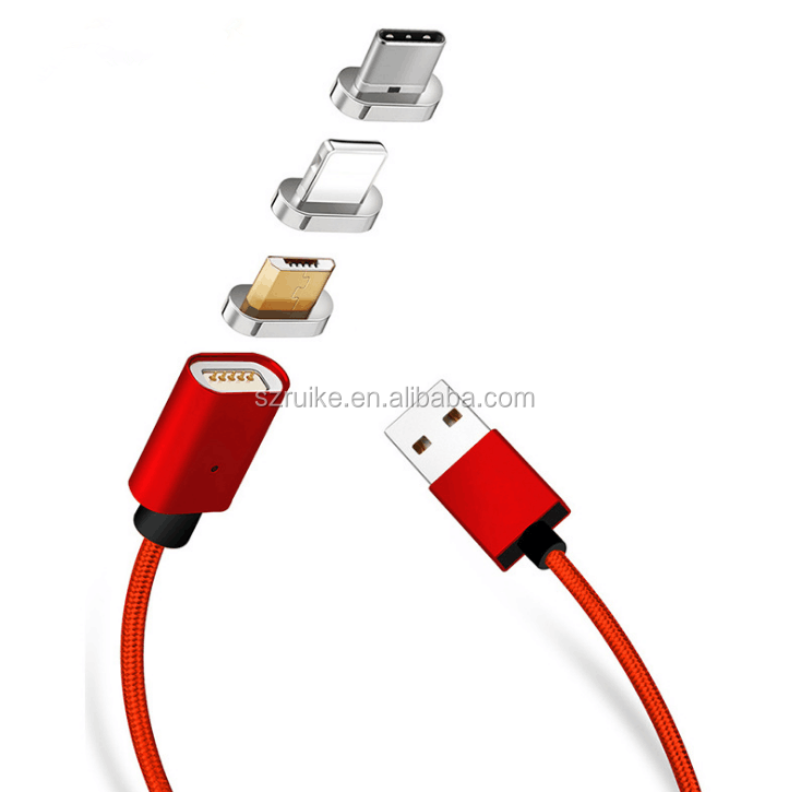 3 in 1 Magnetic Cable For Micro USB/Light-ning/Type C fast charging magnetic USB cable