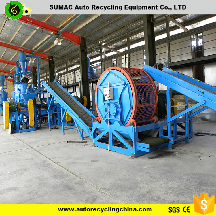 Automatic tire recycling crumb rubber machine