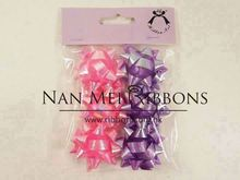 1.5 inches dia. 6 pcs Holographic Embossed Ribbon Gift Wrapping Decoration Star Bow