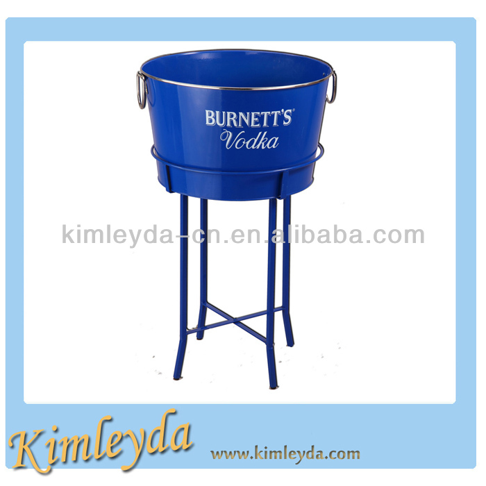 Large Oval Metal Beer Bucket with Stand