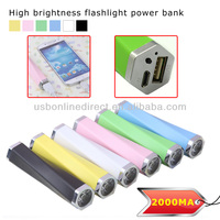 High brightness flashlight power bank 2000MAh for iphone5 5c 5s samsung htc moblie power pack