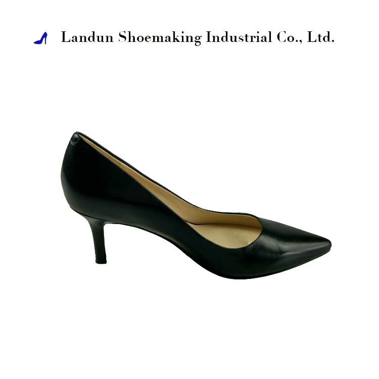LD103651 slim middle heel black simple leather girl shoes