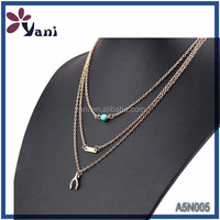 wholesale free samples high quality 14k gold plated jewelry fashion 3 layered chain necklace with zinc alloy