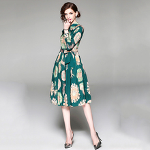 Green Vintage Floral Print Turn-down Collar Dress