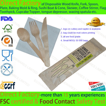 Disposable Wood Cutlery Set Knife Fork Spoon Tissue Kit for Restaurant Take-Out