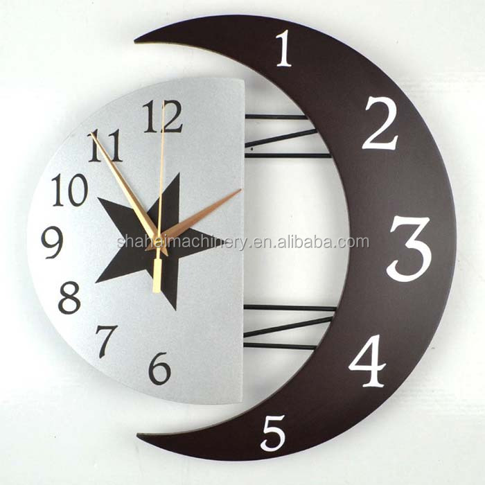 special frame Sun Moon shaped modern decorative picture wall clock