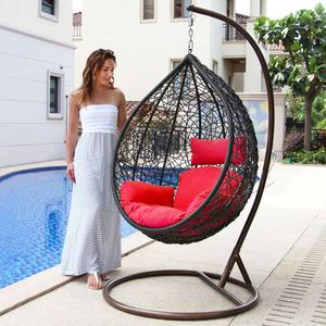 Hot Sell Steel Frame Outdoor Rattan Hanging Swing Chair For Adults