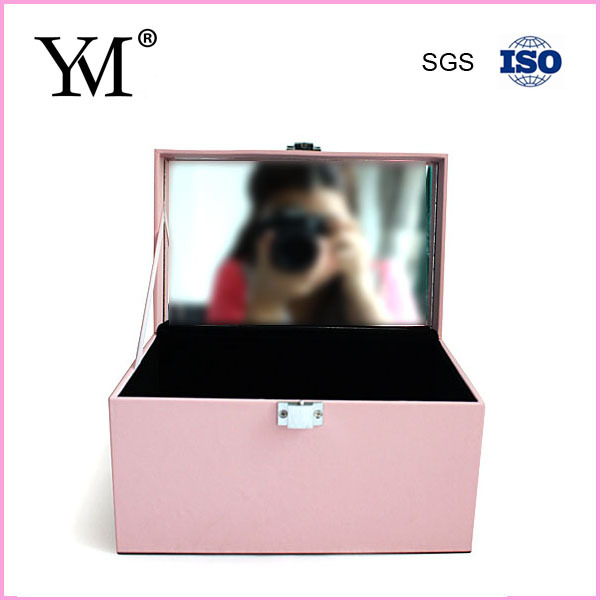 2014 fashion wholesale fancy pink makeup case with mirror