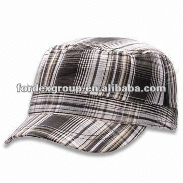 100% Cotton Check Military Hat, Available in Black, Gray, White