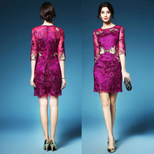 Deep purple Dongguan Wedding Apparel High quality Pencil embroidery dress