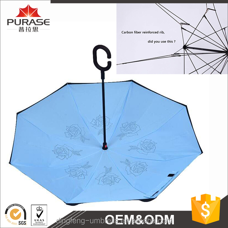 Welcomed NEW Design double canopy fiberglass 8 ribs windproof inverted umbrella for car
