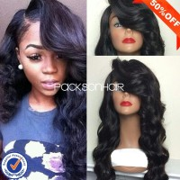 Unprocessed virgin brazilian remy full lace wig with bangs cheap high quality wholesale lace wigs