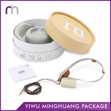 Wholesale Printed Earphones Paper Cardboard Cylinder Storage Packaging Box With Grey Flocked Insert Blister