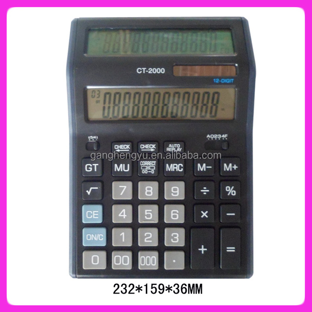 Large double sided display desktop calculator , two power solar calculator CT-2000
