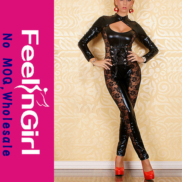 New Style Vinyl Long Sleeved Sexy Full Leather Bodysuits