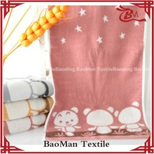 Baoman 100cotton jacquard towel terry dobby think towel with cute animal pattern