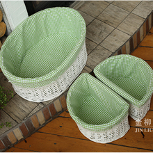 half oval home storage box basket wicker bike basket