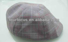 adult cotton yarn dyed checked peaked cap