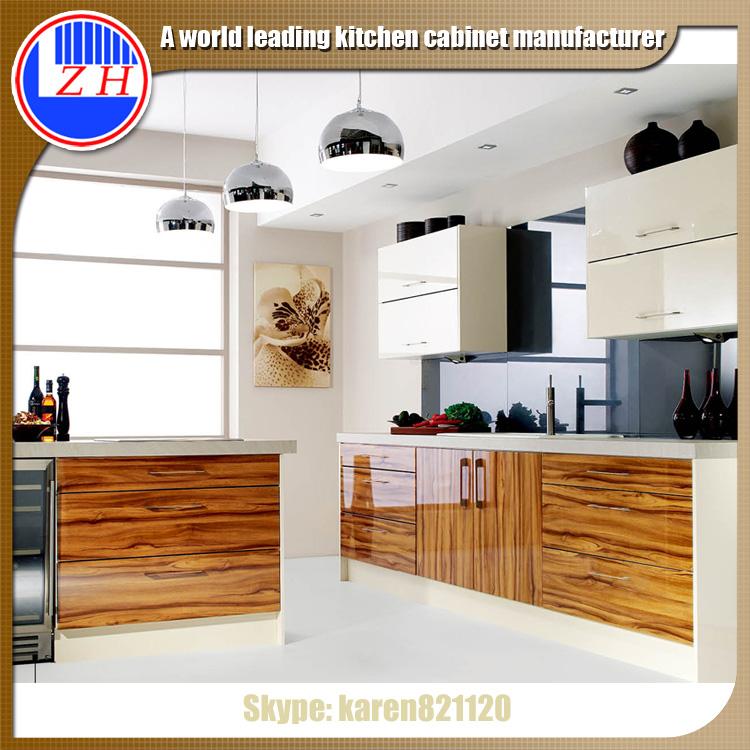 Wood Grain Kitchen Cabinets: Wood Grain Melamine Kitchen Cabinet Small Kitchen Design