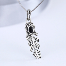 2018 New arrival jewelry Thailand <strong>silver</strong> with black agate feather birthstone pendant