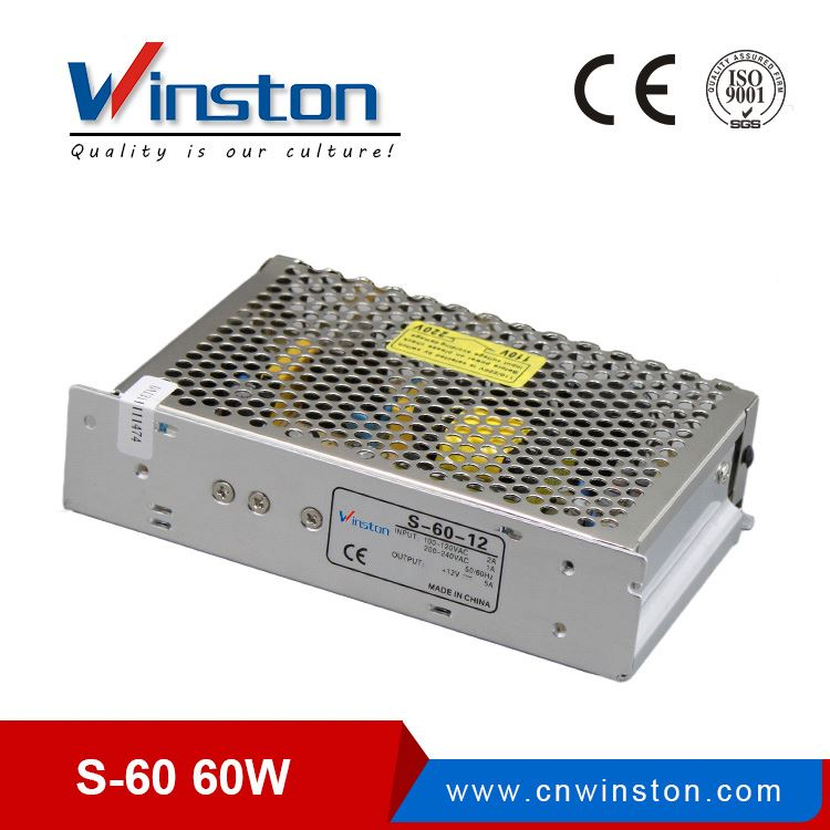 CE ROHS S-60-12 60W 12v 5a 100-240v 50-60hz power supply with 2 years warranty