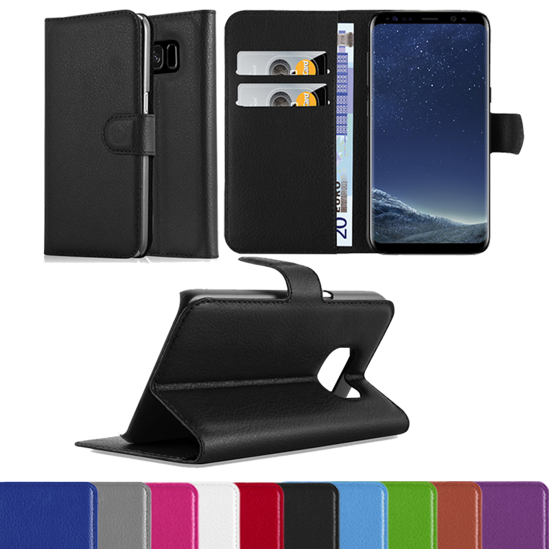 New products Lichee Pu Leather Flip Two Card Slots Case For Samsung Galaxy S8,Wallet Case For Samsung Galaxy S8