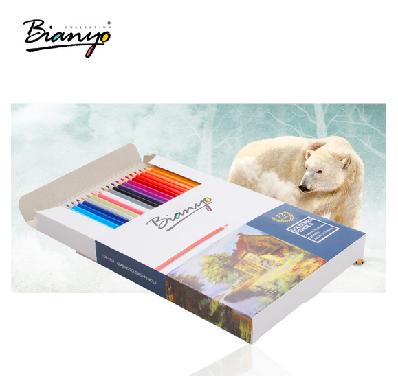 OEM logo High quality 72 colors colored pencils hexagon wooden in paper box