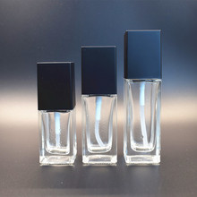 Luxury 20ml 30ml 50ml cosmetic empty square glass powder foundation bottle