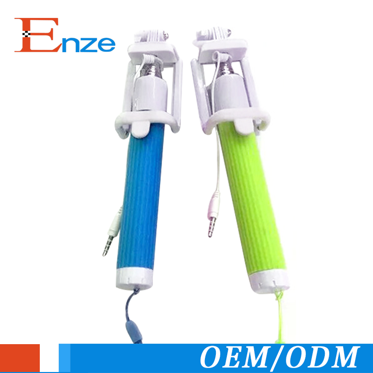 Wholesale mobile phone camera monopod cable selfie stick with folding clip