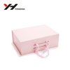 China wholesale pink Luxury paper customized folding gift/shoes packaging box with ribbon handle
