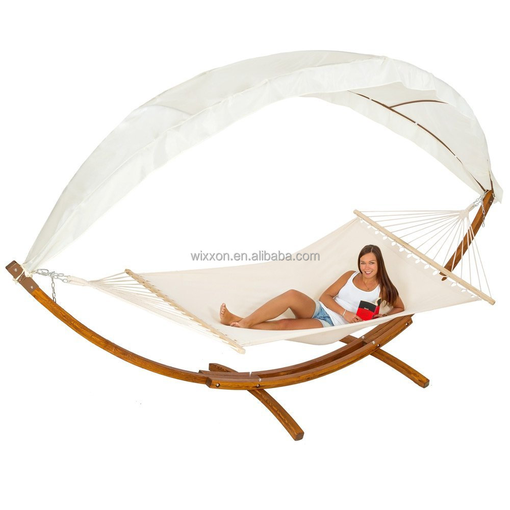 KD Design Garden Wooden Patio Hanging Hammock Swing Bed