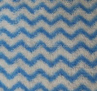 Blue and white zigzag printed coral fleece fabric