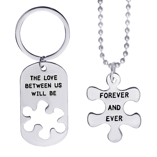 Jewelry wholesale valentine's Day gift the love between us stitching couple necklace
