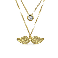 18K gold plated over 925 sterling silver crystal and angel wing layered charm necklace