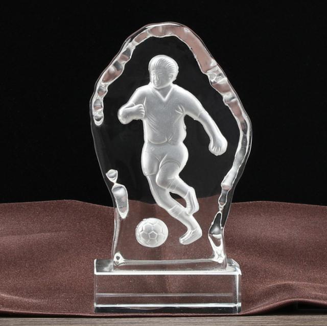 top quality custom iceberg shape football souvenir sports crystal trophy award