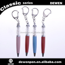 Mini twist metal ball pen with key chain, crystal key chain