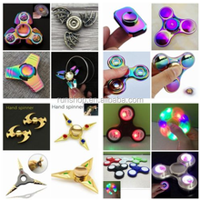 China Factory Wholesale Tri-Fidget Finger EDC Focus Rainbow Autism Toys 3 LED Light Hand Spinner For Adults Kids