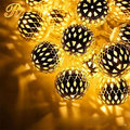 Metal moroccan ball led string light for outdoor decoration