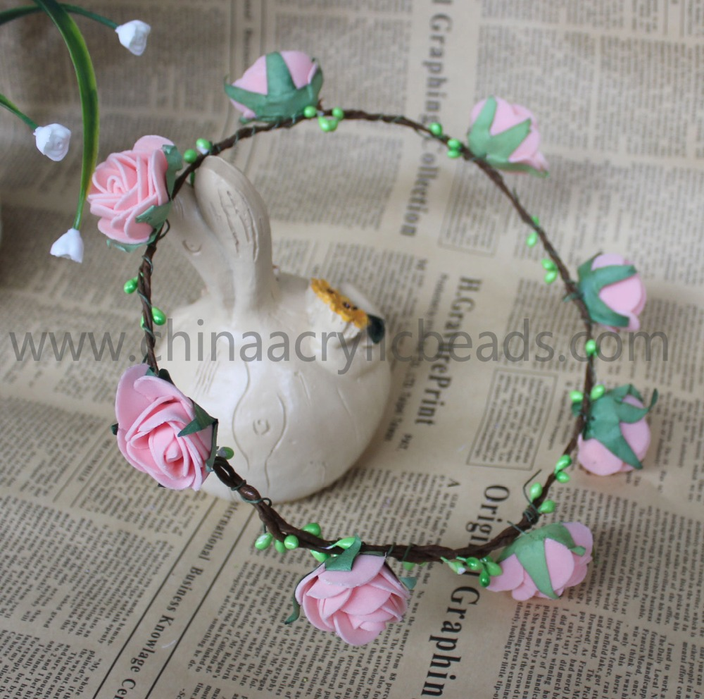 wholesale artificial floral fabric silk ornament for wedding garland headwrap