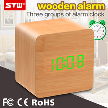 international personalised outdoor travel smart box wood lcd clock