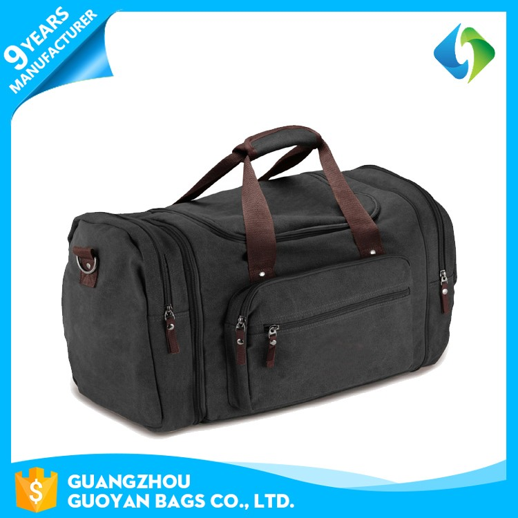 wholesale custom fancy sports waxed cotton duffle gym bag with shoe compartment