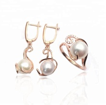 Cheap and high quality gold silver pearl jewelry sets for bride on alibaba