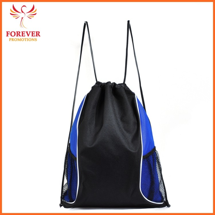 Wholesale Nylon Drawstring Backpack Cheap Sports Bag With Mesh Pocket Promos Gifts Backpack Supplier Sample Free